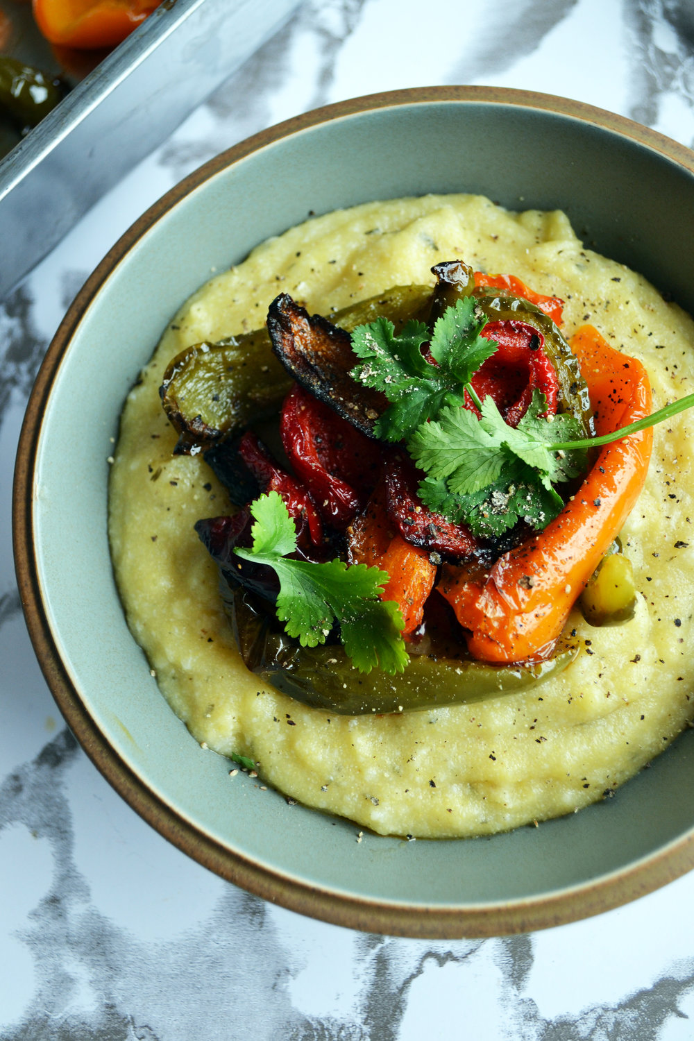Creamy polenta with roasted peppers | The Flourishing Pantry