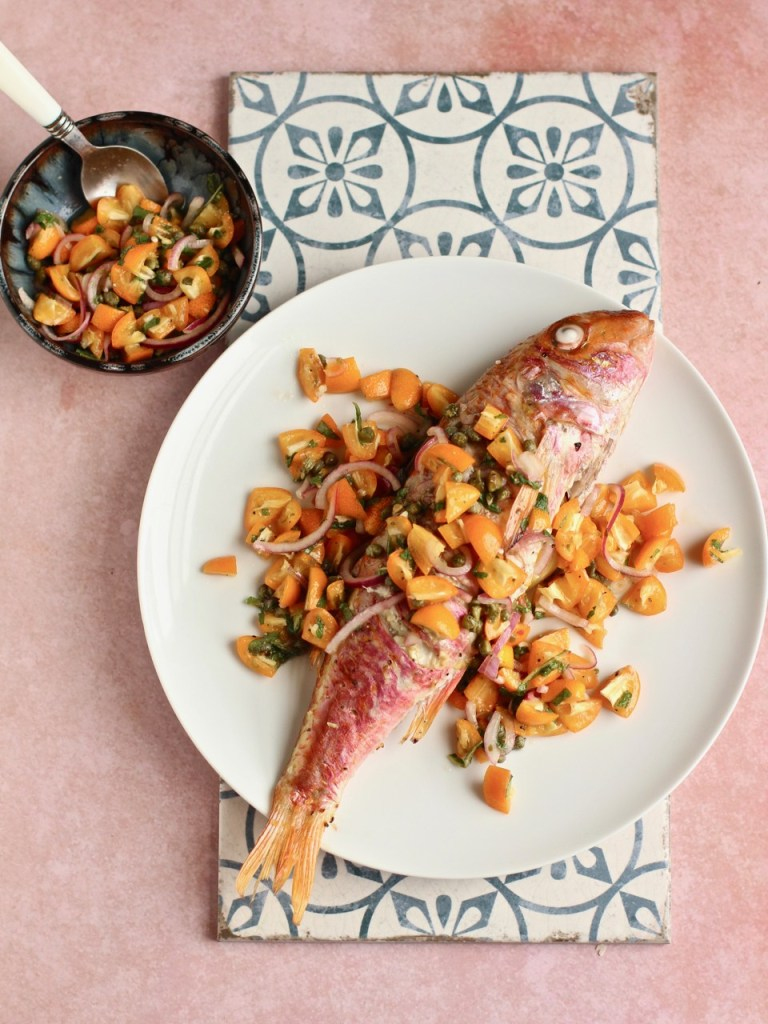 This incredible  Baked Red Mullet with kumquat salsa  was a recipe Ceri prepared for our most recent  The Reset  retreat in Portugal