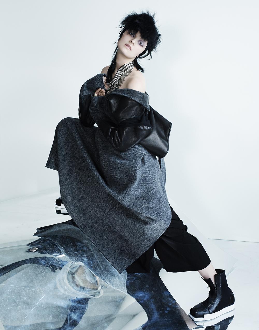 Full look: YOHJI YAMAMOTO. Scarf: AMBUSH