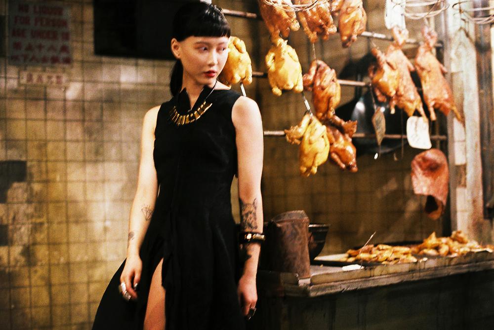 Dress: Yohji Yamamoto. Accessories: Black Triangle Design + PALA (Tokyo)