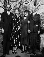 Mr. and Mrs. Winchester (left) and Dr. and Mrs. Powers (right) outside their home at 314 Euclid Boulevard (c.1950)