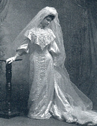 Marian Wright Powers in her wedding dress, 1903