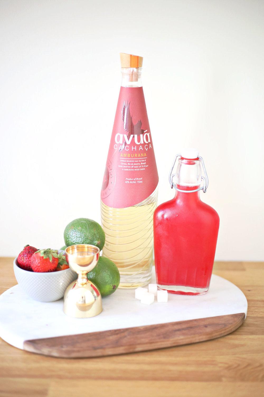 Strawberry Rhubarb Caipirinha