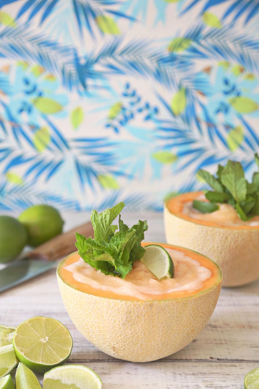 Frozen Cantaloupe Daiquiri | ARSENIC-LACE.COM | Summer Cocktails | Frozen Drinks