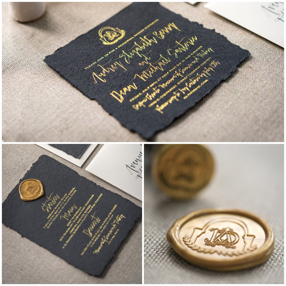 Gold leaf press invitation on hand torn paper set the tone for this night to remember. I www.avenueievents.com.JPG
