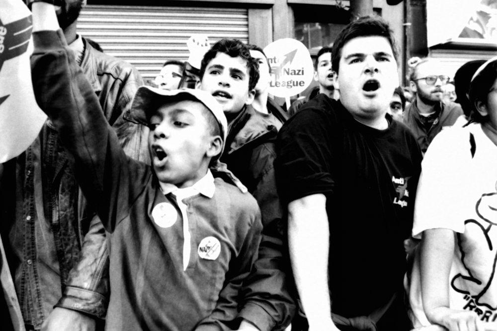 Anti Racist demo, BethnalGreen Rd, early 1990's.jpg