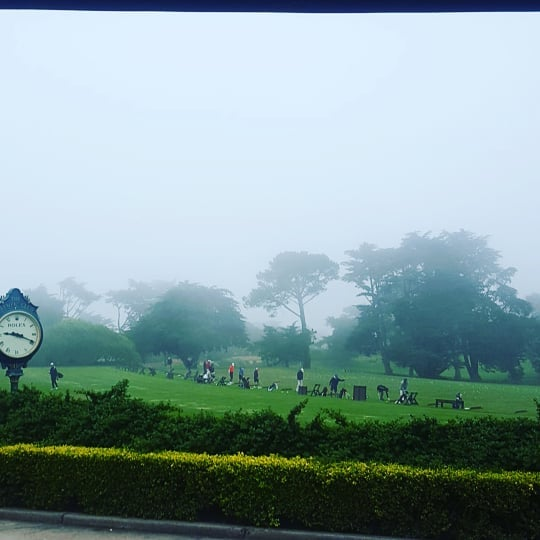Karl the fog rolling in deep this morning. At least We'll keep ya warm with some Breakfast Sandos & Hot Chocolate.  #olympicclub #sf #bayarea #karlthefog #ohkarl #fog #cold #windy #golflife #commitment #practice #foglife #goplay