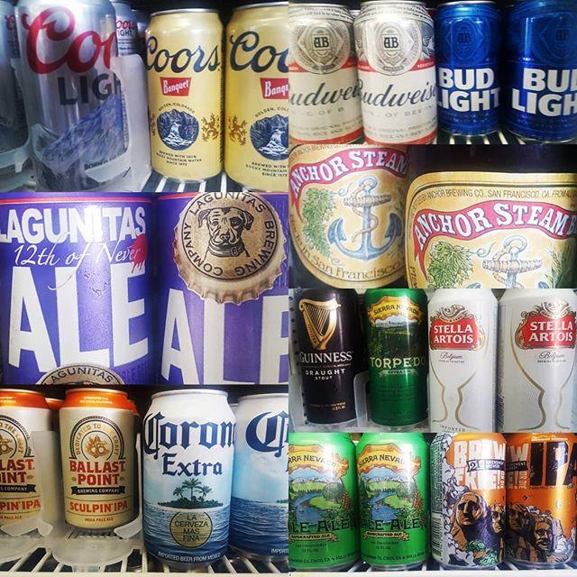 BEERS BEERS BEERS!  #guinness #stella #anchorsteam #torpedo #sierranevada #brewfreeordie #12thofnever #sculpin #corona #heineken  #coorslight #coors #budlight #budweiser #ballastpoint #lagunitas #21stamendment #beer #roadsoda #coldbeer #drinkup #golfwater #golf #hotdogbills #olympicclub