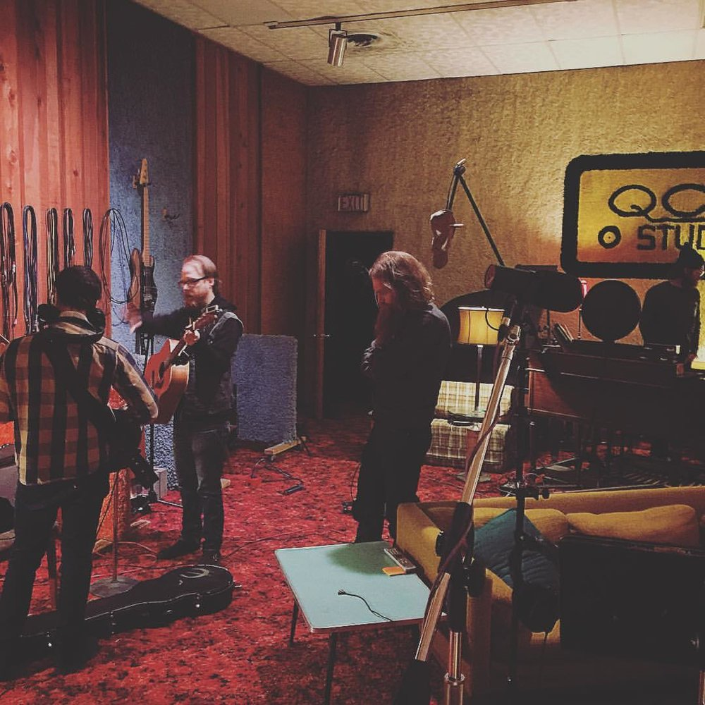 Temple with Brian Niesz working on the first record at QCA Studio.