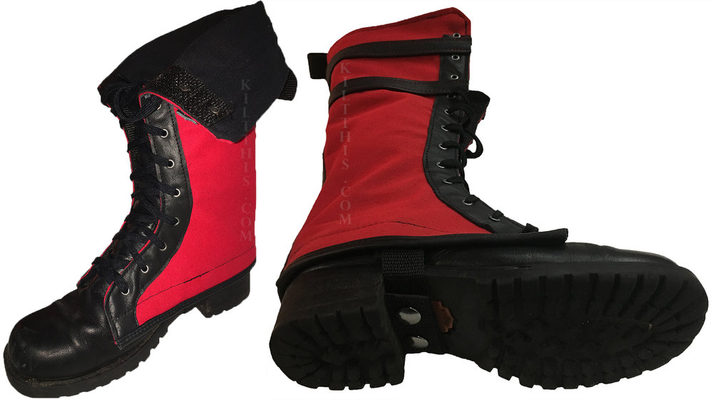 Custom boot cover in canvas, tartan or leather. Choose colors and metal eyelet color. Customize with stripes, emblems or request a theme. Needs multiple sets? Ask about our discounts by quantity.