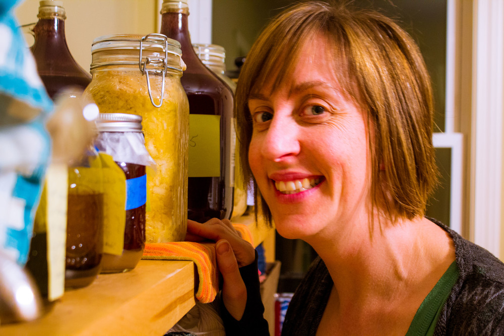 Beth Walker with her home ferments collection.