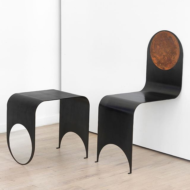 """A lot of the conceptual ideas have to do with the furniture being somewhat provocative to the user. Like with the Thin Chair, someone will see the way that it sits against the wall and literally not know if it'll hold their weight or it'll fall."" —Joseph Vidich of Kin & Company on the relationship between concept and form in their furniture. Pictured above: Kin & Company's Thin Table 1 and Thin Chair."
