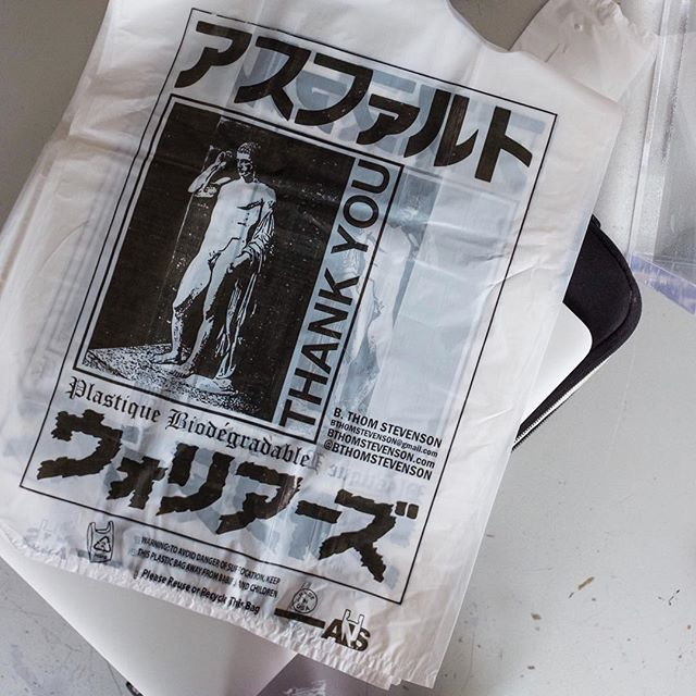 """Once I made these plastic bags and the minimum to make them was like 5,000 plastic bags. I designed them with a depiction of the Roman statue of Marcellus as Hermes, the Greek god of trade, and they said thank you and they had all of my contact information. I went around to bodegas and gave them the bags. I always liked the idea of commerce working for me because I feel like we always work for commerce."" – Multimedia artist B. Thom Stevenson. Visit the link in our bio to learn more about his work and creative process."