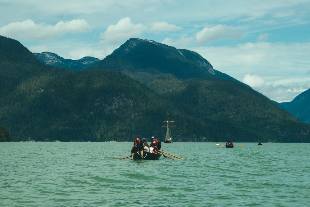 We paddled in on dories from the Swift in Knight Inlet