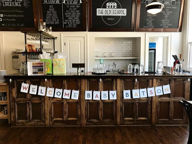 "Who says a baby shower has to be ""girlie""? One of the #paperbldg baby banners found a home beneath the bar at @theoldschoolnashville for a man-friendly couples shower. Because dudes like to brunch, too! #dudesbrunch"