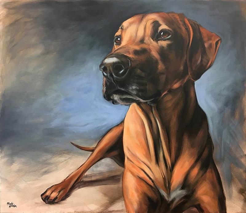 """Emma"" (Rhodesian Ridgeback) | 2016 | Acrylic on canvas | aimeehoover.com"
