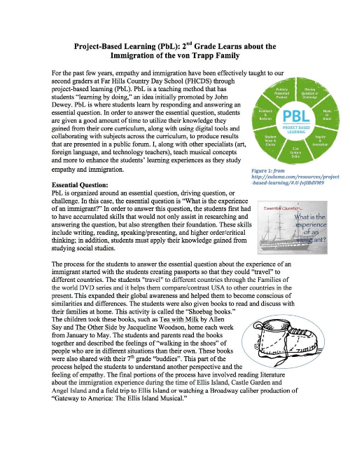 Project-Based Learning (PbL): 2nd Grade Learns about the Immigration of the von Trapp Family (page 1)