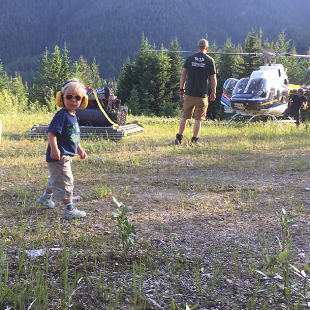 """Thank you @coldstreamheli for the impeccable service and safe flight for our """"lil"""" crew!!! #helicopter #dianalakelodge #myBCbackcountry"""