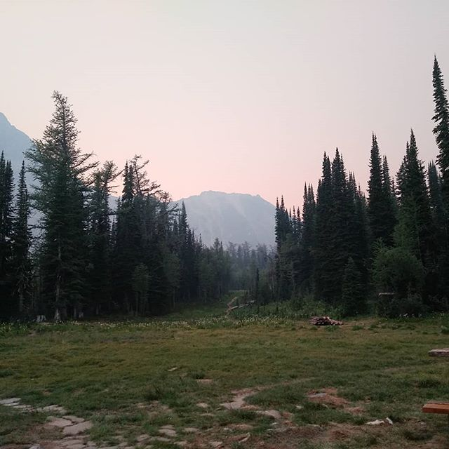 Smoky evening sunset from the front porch. Colour bliss and thunder to boot! #hikebc  #mybcbackcountry #kootenaylife #dianalakelodge #explorebc