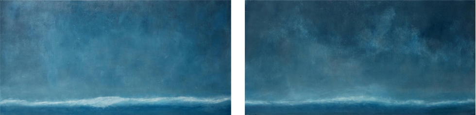 Ocean Wave I II 24 x 44 Oil On Linen<br>Sold