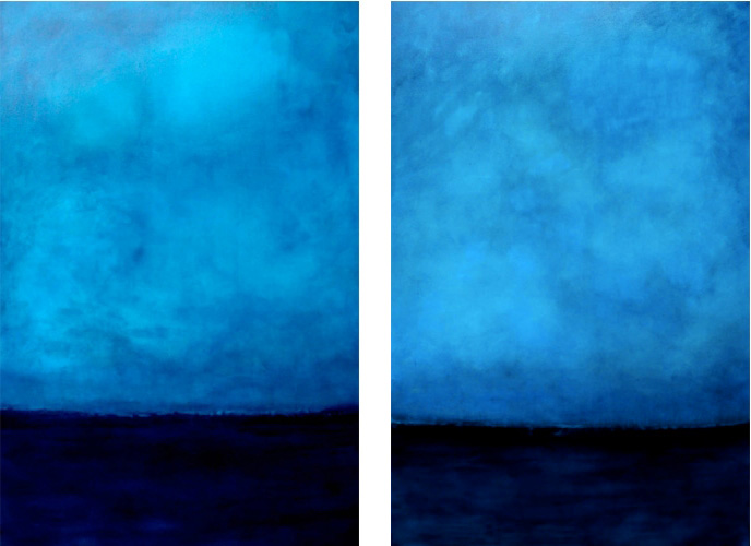 Blue Twilight I II 48 x 72 Oil on Canvas<br>Sold