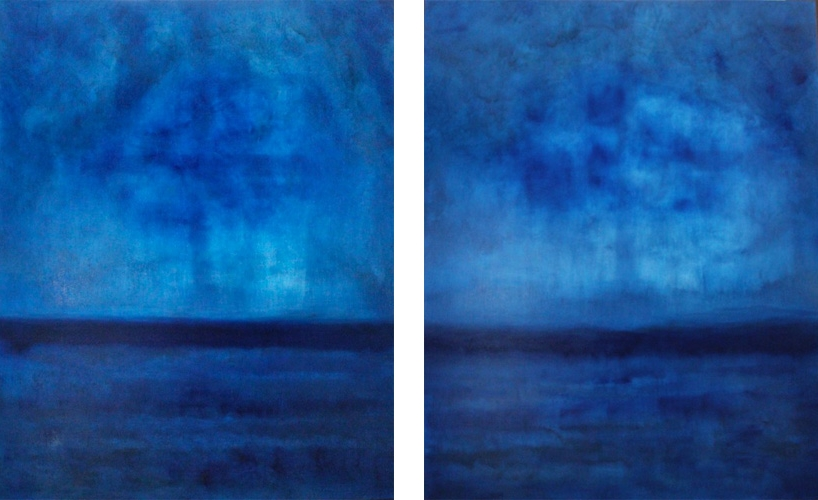 MIDNIGHT BLUE I II 48 X 72 OIL ON LINEN<br>sold
