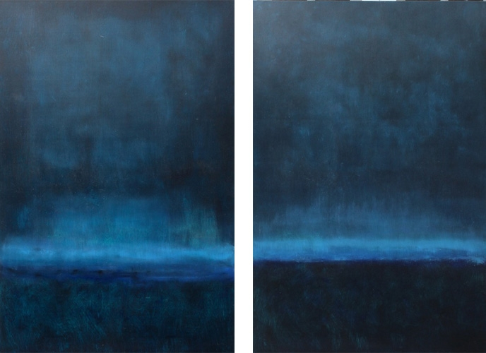 BLUE NIGHT I II 40 X 60 OIL ON WOOD
