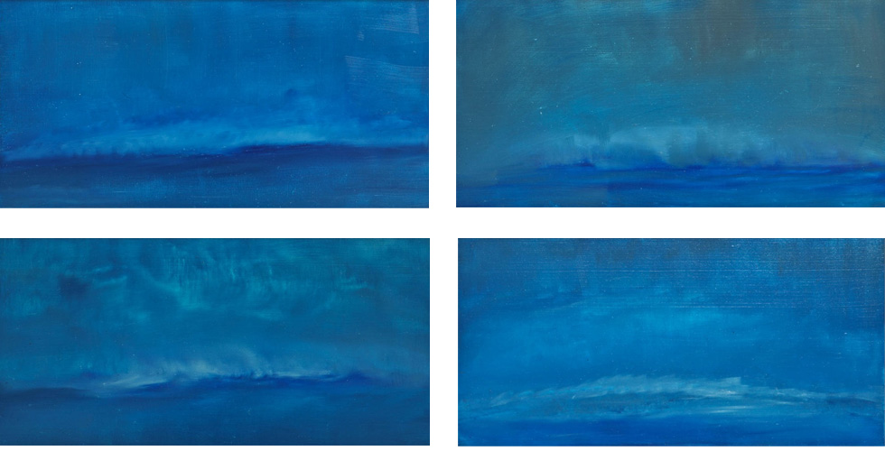 OCEAN WAVES I II III IV 12 X 24 OIL ON LINEN<br>SOLD