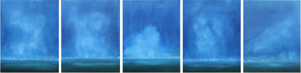 BLUE RAIN I II III IV V 16 X 20 OIL ON LINEN<br>SOLD