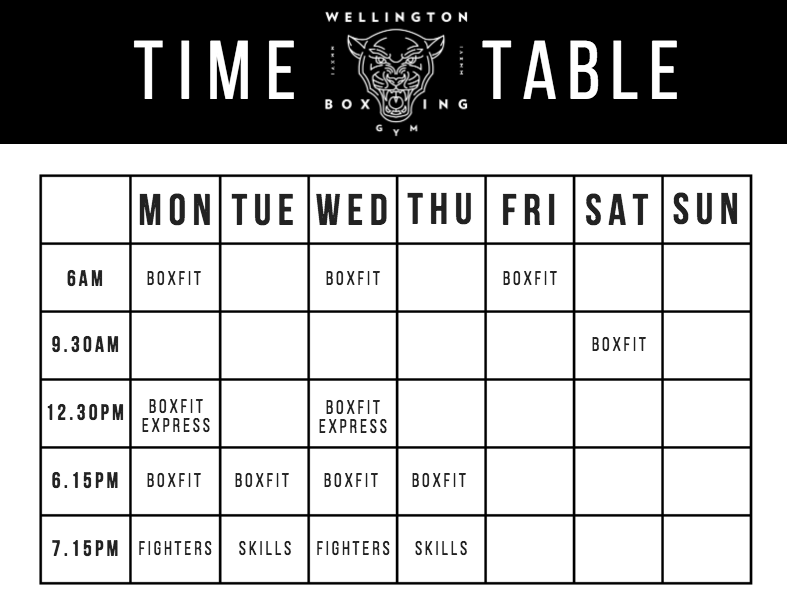 Wellington Boxing Gym Time Table