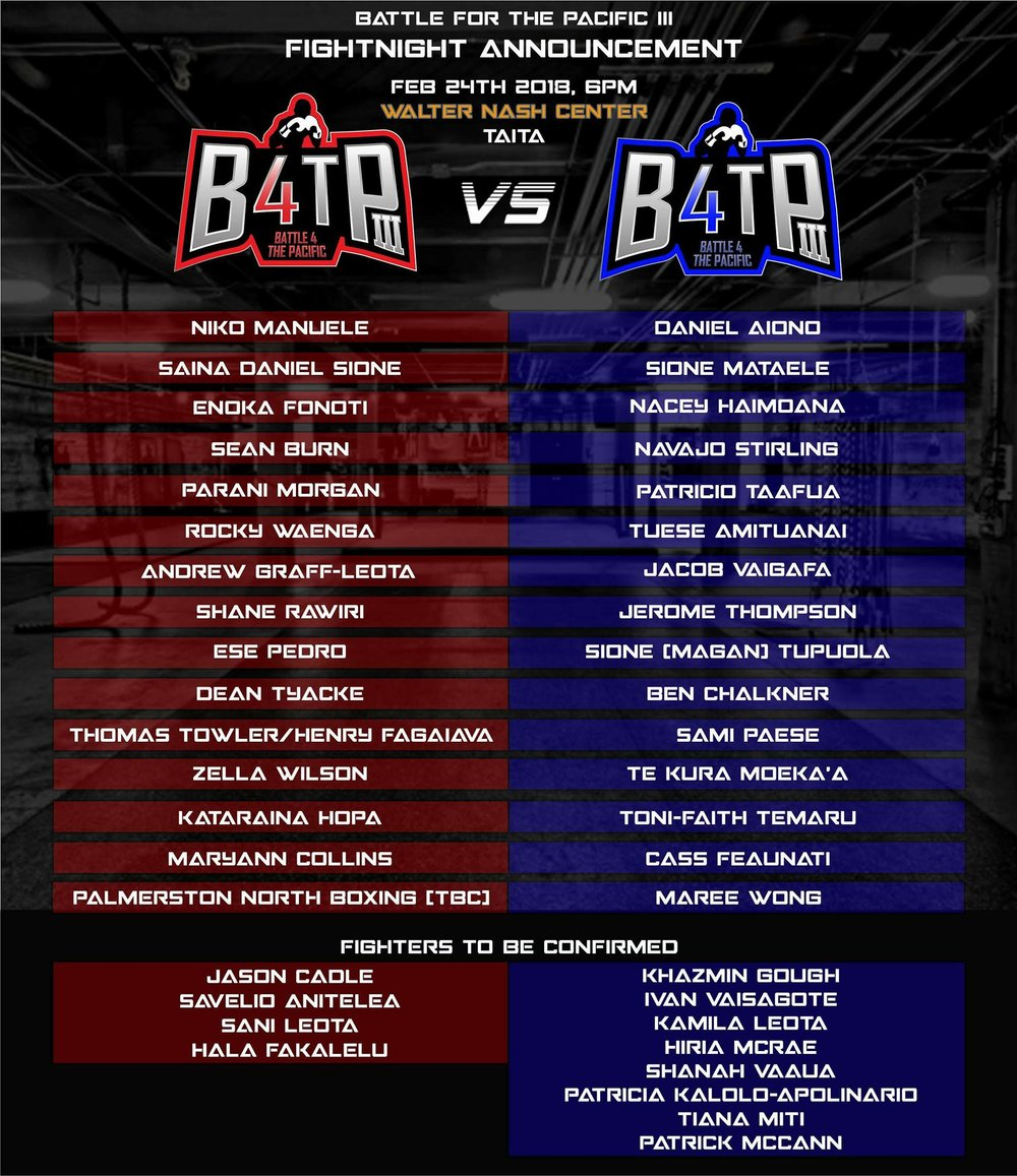 B4TP III fight announcement - Wellington Boxing Gym
