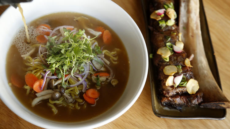 Bone Kettle noodles and broth with beef ribs. (Genaro Molina / Los Angeles Times)
