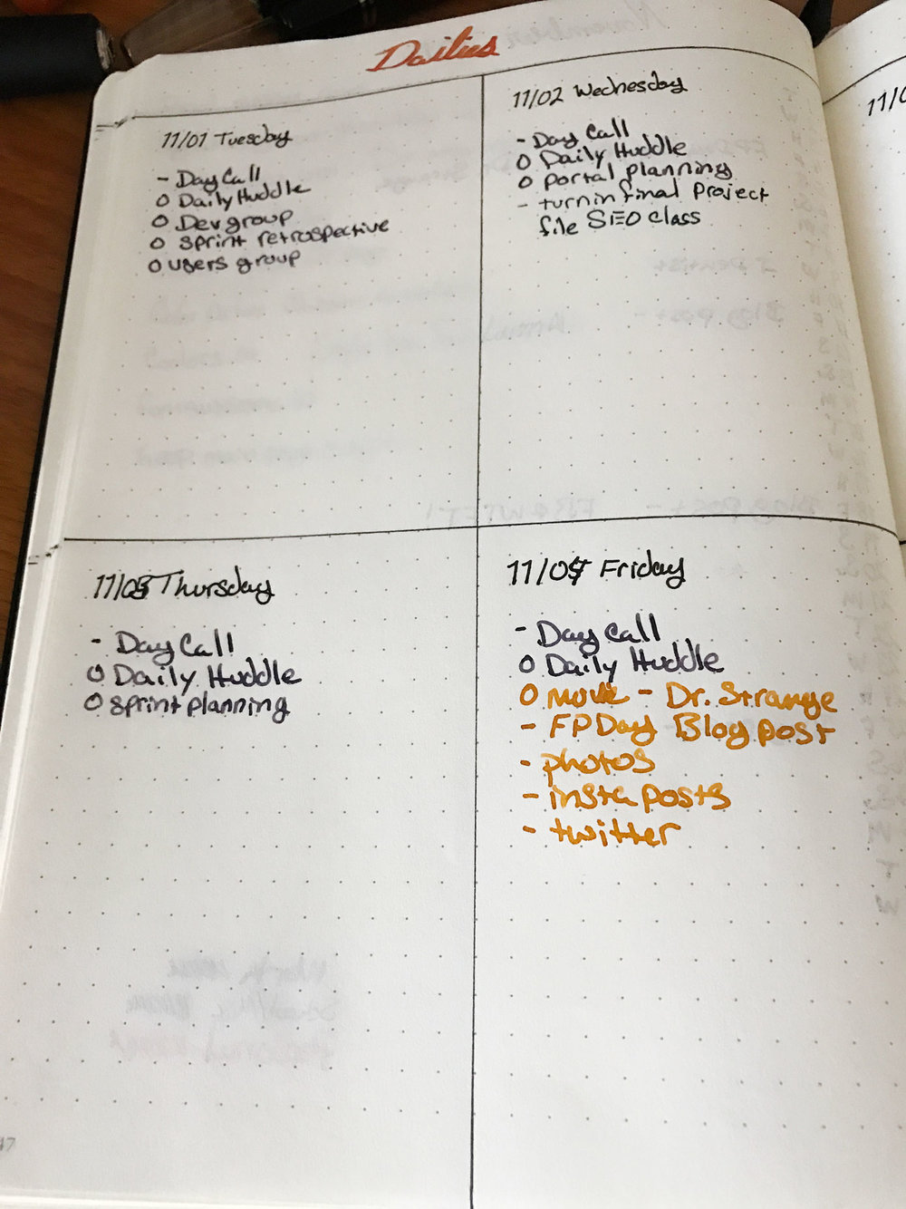 My Daily Log Four Day Per Page Layout