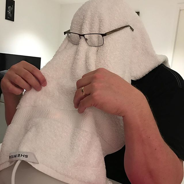 No, Adrian has not joined the klu klux klan. He's just vaporising for good #vocalhealth