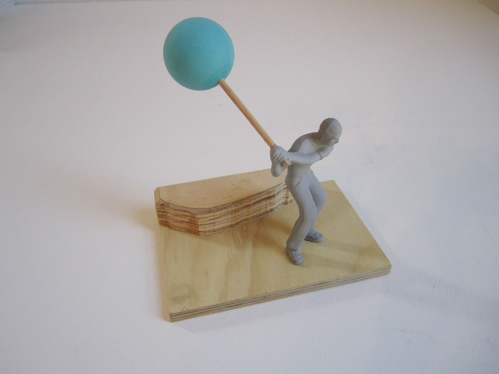 Lollipop Man, 2011    Enamel on acrylic, wood, table tennis ball 17 x 15 x 10 cm