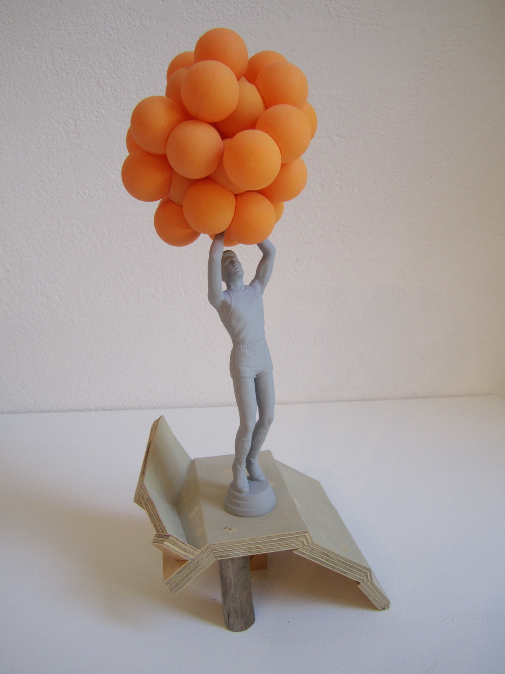 Orange Cloud, 2011    Enamel on acrylic, wood, table tennis balls 50 x 16 x 22 cm