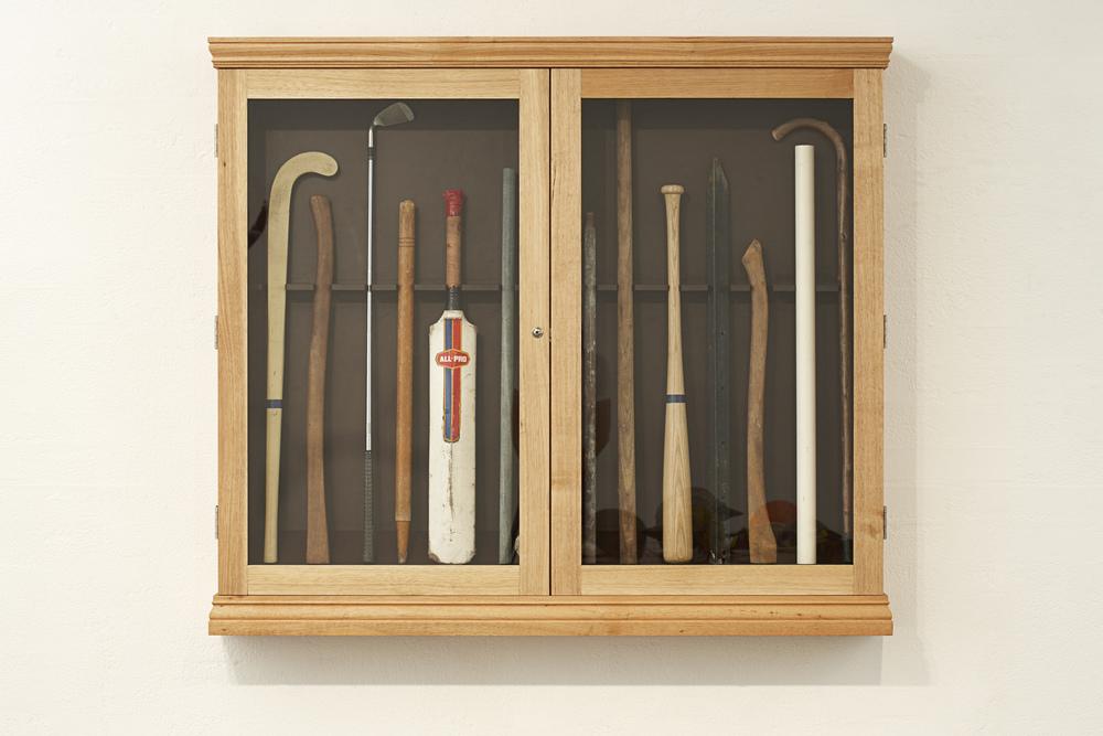 Burglar Sticks (Defence/Offence), 2009 Tasmanian Oak, Found Objects 129 x 148 x 20 cm