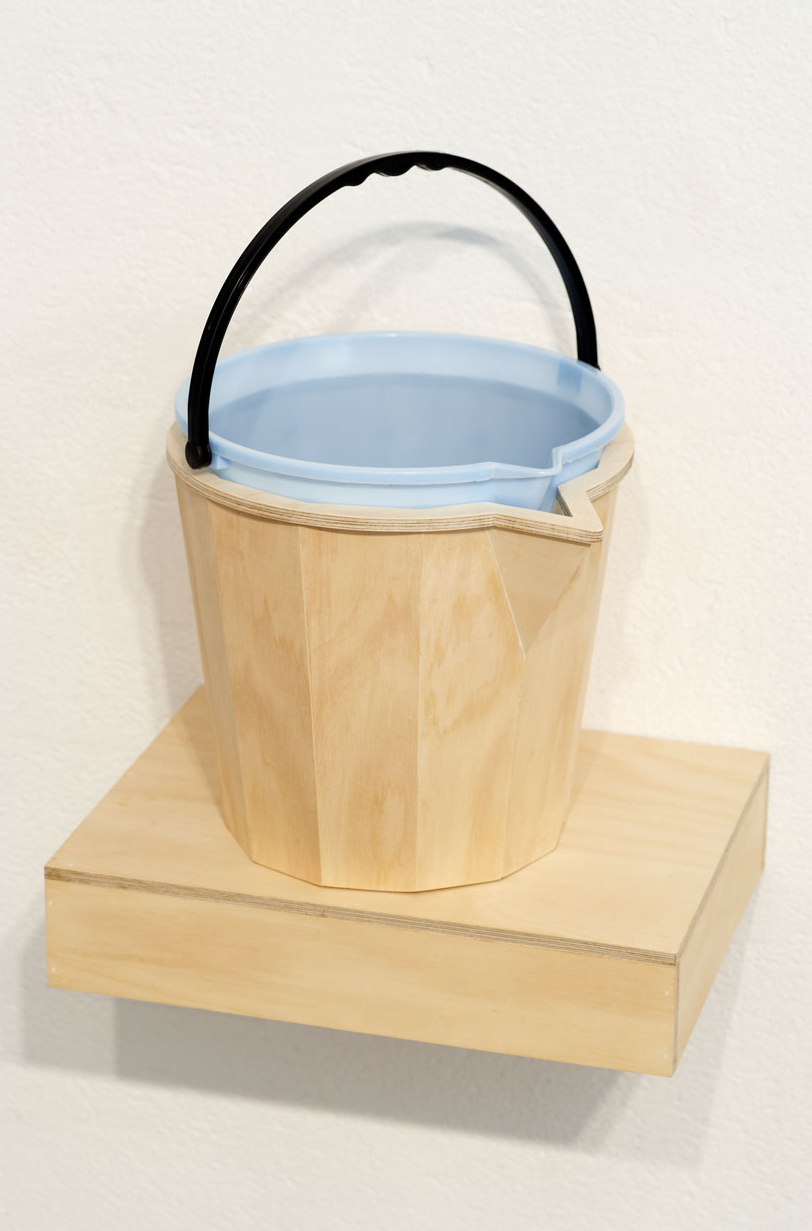PAIL BY COMPARISON, 2007   Plywood, plastic bucket   shelf 30 x 40 x 9 cm   bucket 45 x 34 x 30 cm