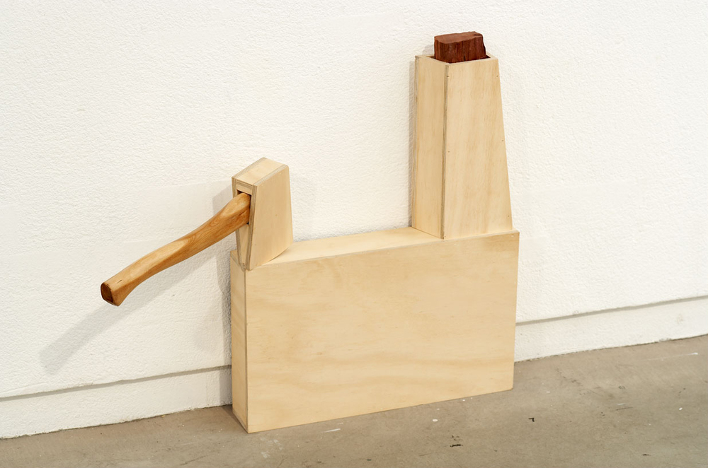 FOR THE CHOP, 2007   Plywood, jarrah, axe   65 x 79 x 19 cm