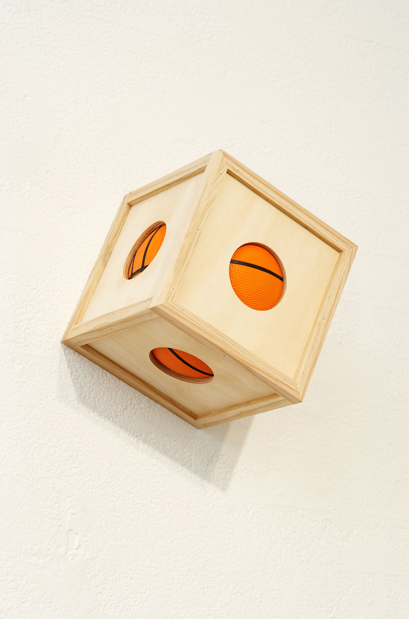 BALL ³ , 2007 Plywood, pine, basketball 25 x 25 x 25 cm