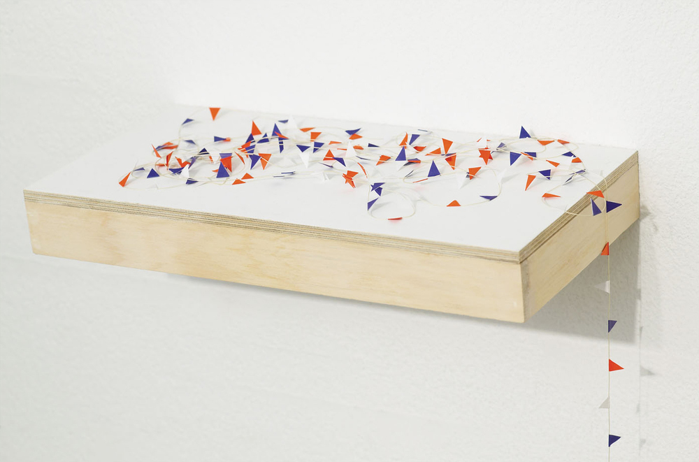 BUNTING Bead Thread, Paper, Acrylic on Plywood Dimensions variable, (Bunting 660 cm)