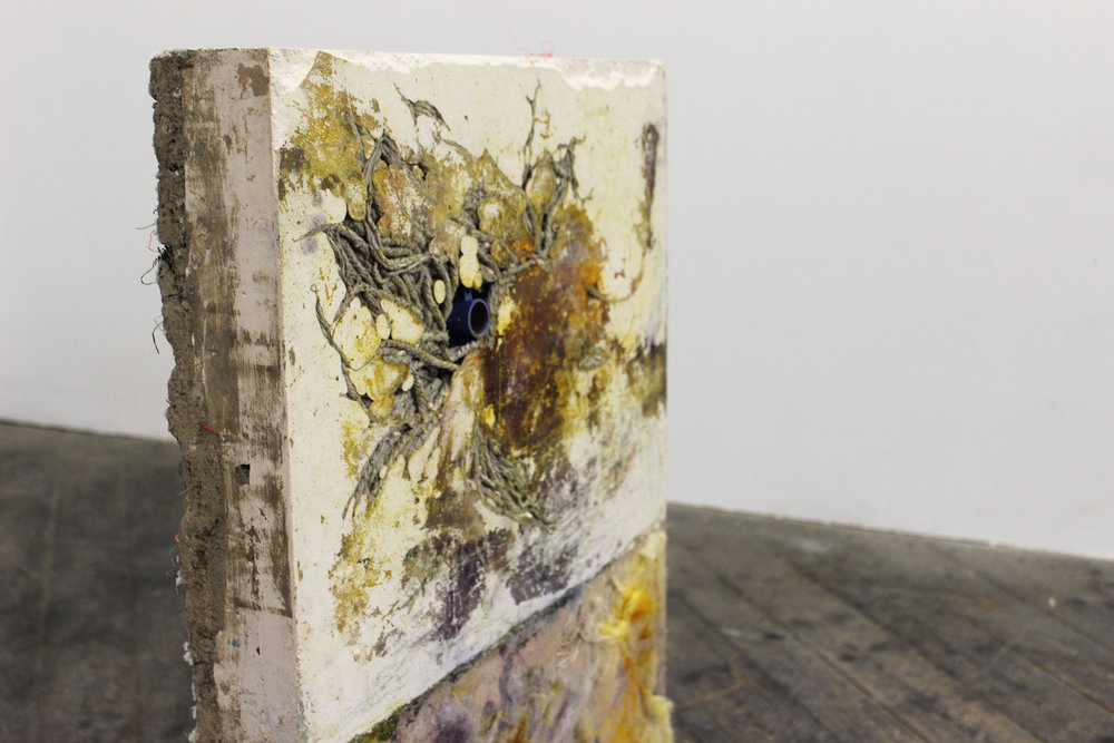 Work Is What You Make It (Detail), Plaster, Concrete, Dyes, Mop, Sheep's Fleece, February 2017