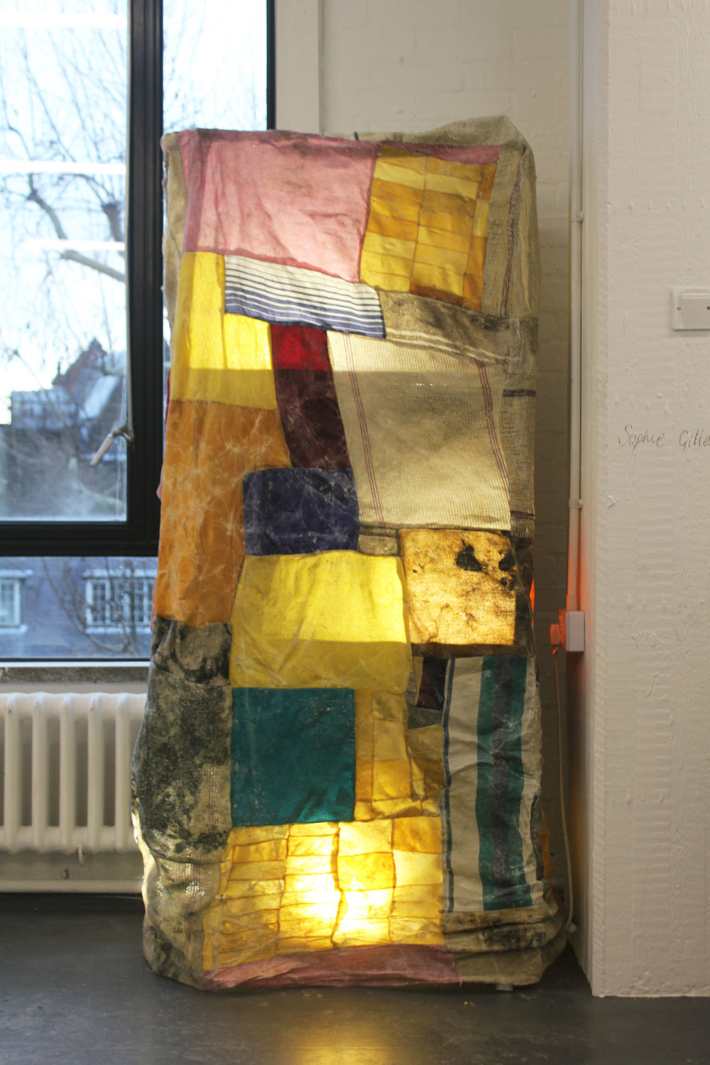 Chamois Lamp, Cloths, Thread, Wax, Metal, Lights, Installed at Royal College Of Art Works In Progress Show, London, January 2019