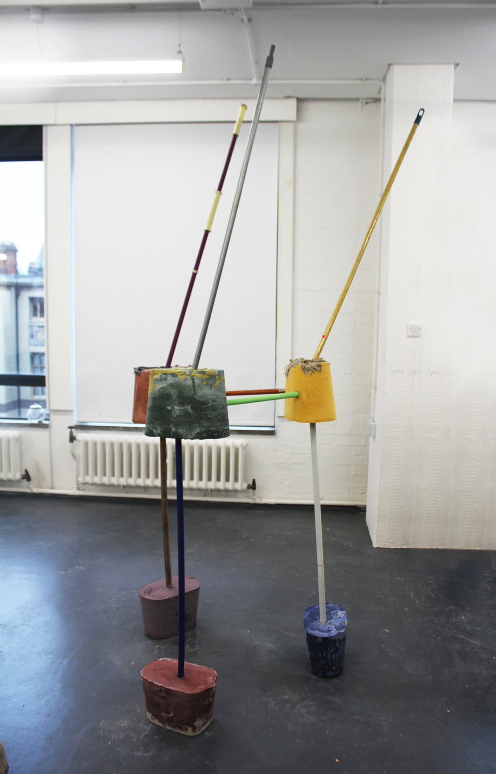 Threetoosolid, Mops, Plaster, Pigment, Installed At Royal College Of Art Works In Progress Show, London, January 2019