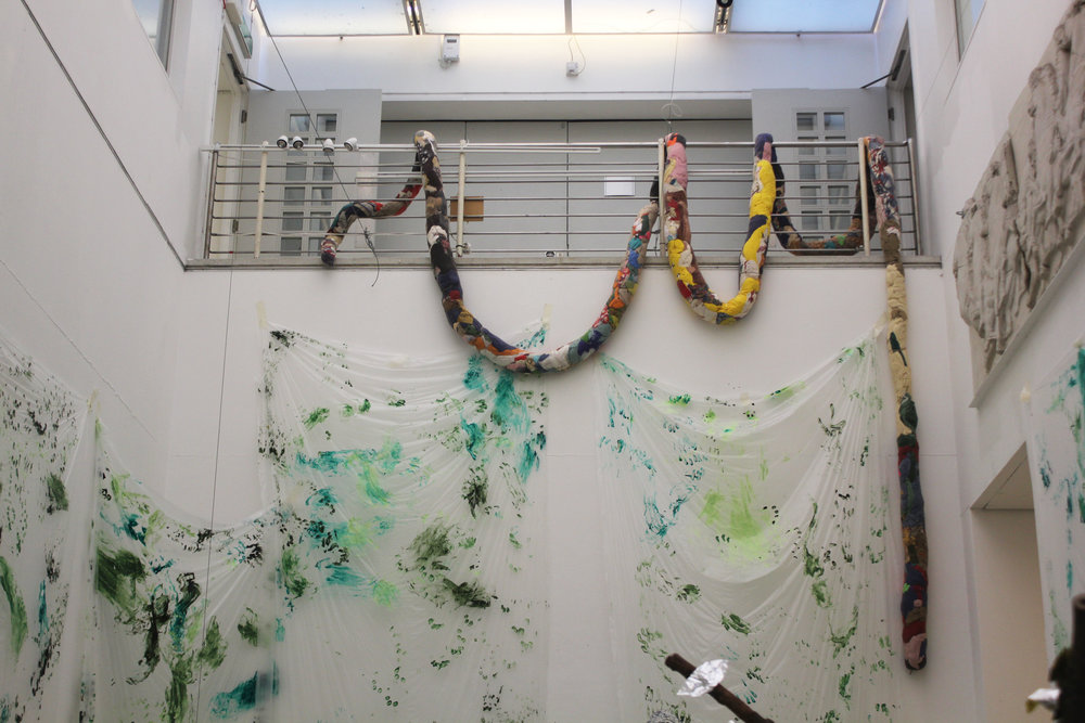 Sheer Snake, Fabrics, Thread, Installed at The Petting Zoo, The Hockney Gallery at The Royal College Of Art, February 2019