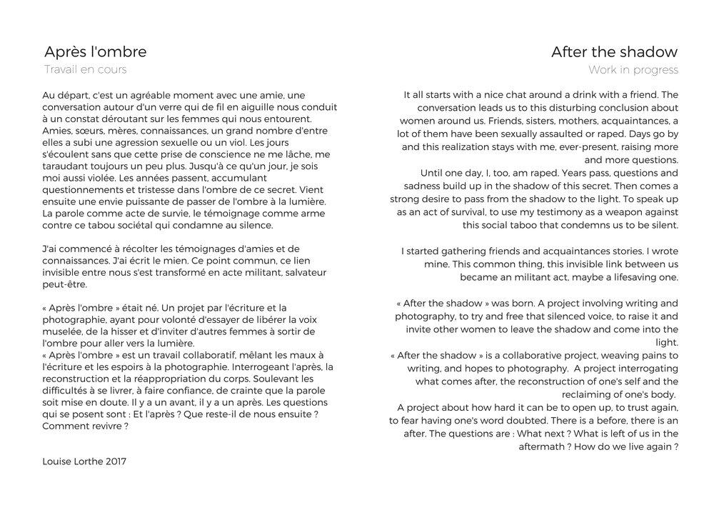 « Après l'ombre » – Projet témoignages_photos - Louise LortheAu départ, c'est un agréable moment avec une amie, une conversation autour d'un verre qui de fil en aiguille nous conduit à un constat déroutant sur les f.jpg