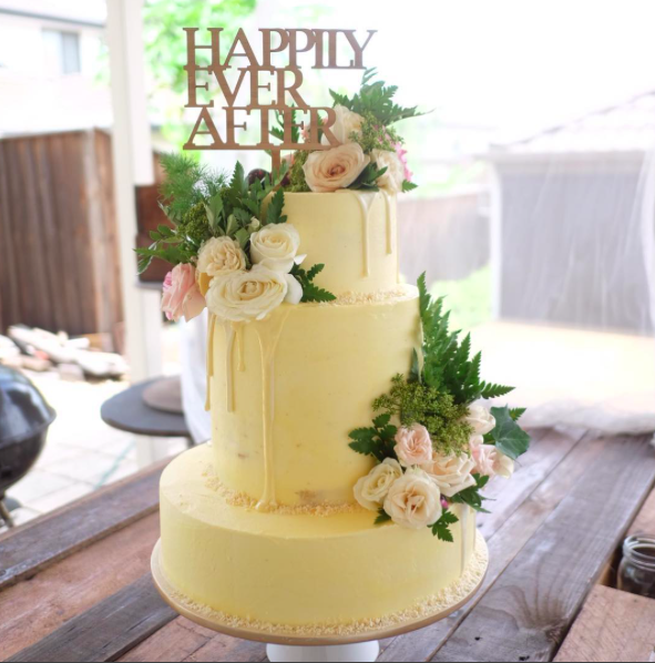 Three tier floral cake   And they lived happily ever after. After after and after.