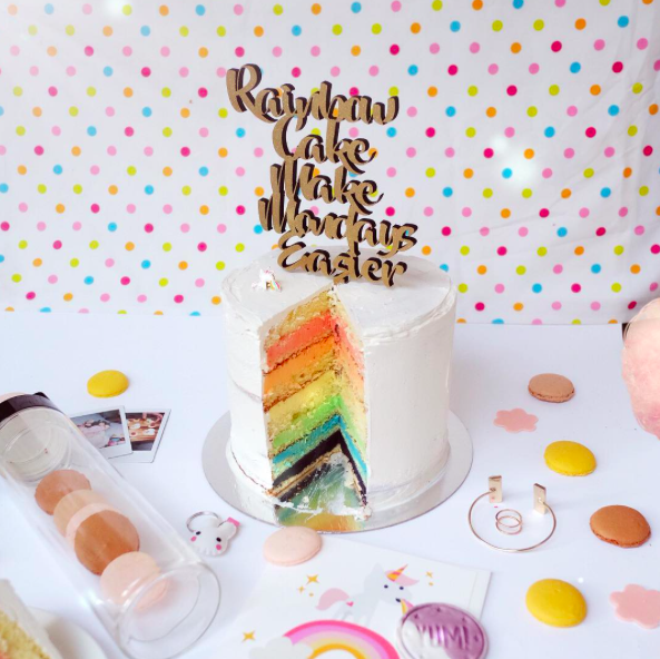 Rainbow Cake   They say rainbow cakes make Mondays easier.Here is another photo of the rainbow we made. Biggest thanks to  @hellomissmay for setting this cake, t