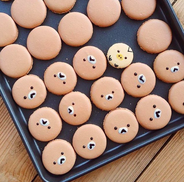 Rila Bear Macaron   Throwing some love to my favourite macaron bear. The Rila bear macaron. Made with hazelnuts and filled with Nutella goodness. 😚
