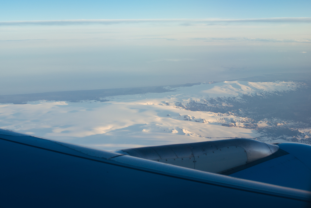 Flying in over Mýrdalsjökull.